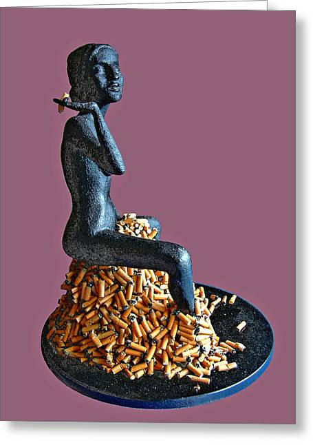 Give Sculptures Greeting Cards - The Smoker Greeting Card by James Igguu