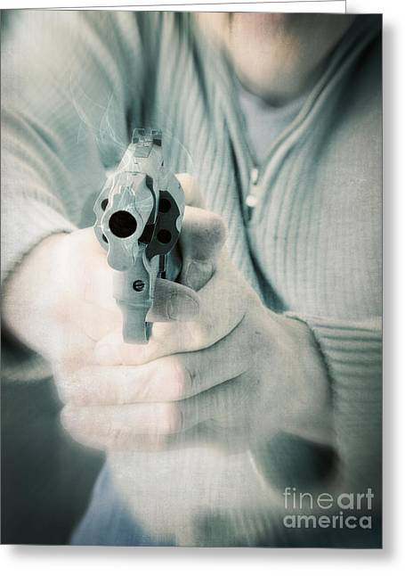 Guns Photographs Greeting Cards - The Smoking Gun Greeting Card by Edward Fielding
