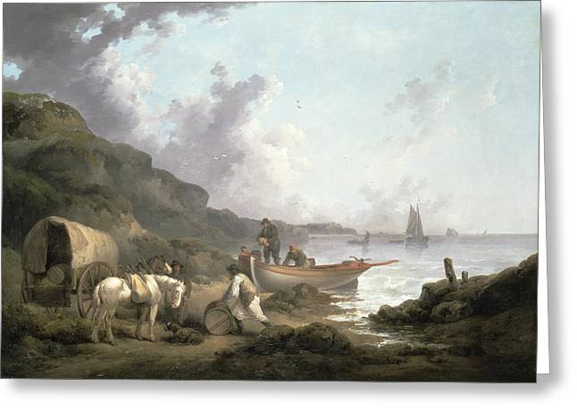 Horse And Cart Paintings Greeting Cards - The Smugglers, 1792 Greeting Card by George Morland