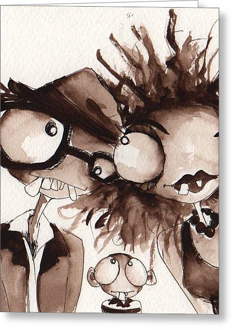 Family Love Drawings Greeting Cards - The Snaggles Greeting Card by Darnel Tasker