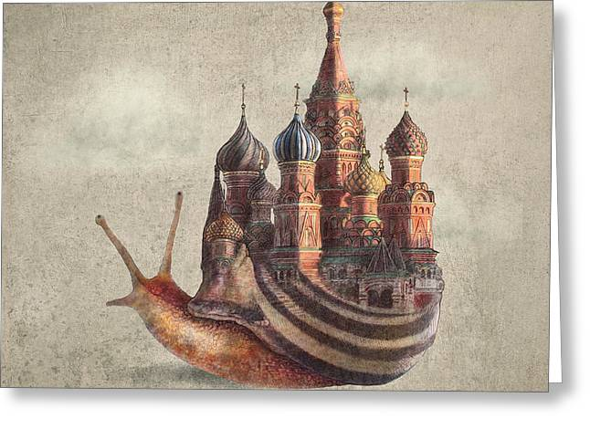 Surreal Drawings Greeting Cards - The Snails Daydream Greeting Card by Eric Fan