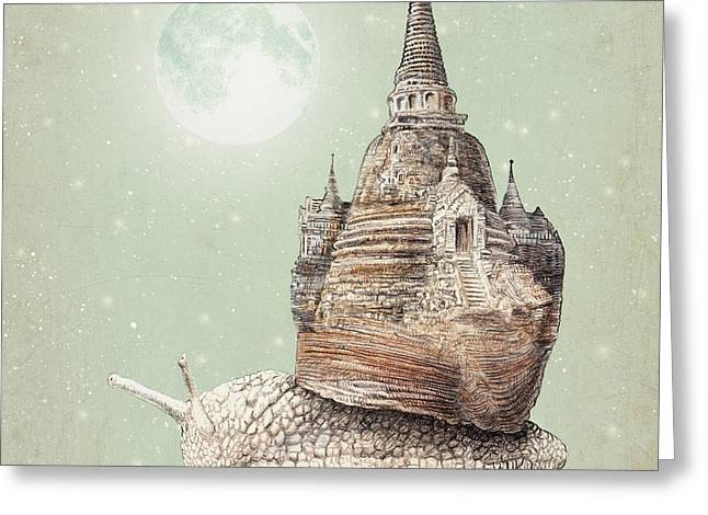 Dreams Drawings Greeting Cards - The Snails Dream Greeting Card by Eric Fan