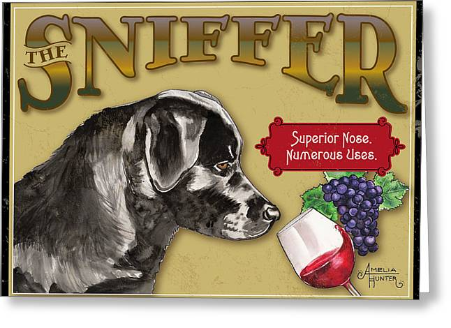 The Wine Sniffer Black Lab Greeting Card by Amelia Hunter