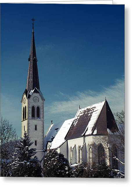 Leoben Greeting Cards - The Snow And The Church Greeting Card by Antonio Castillo