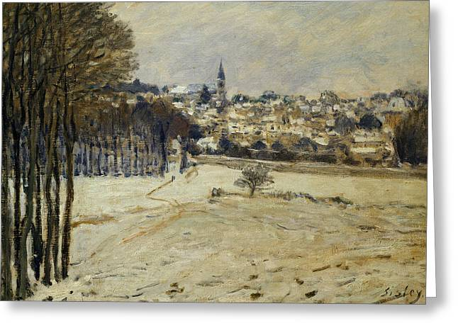 Rural Winter Greeting Cards - The Snow at Marly-le-Roi Greeting Card by Alfred Sisley