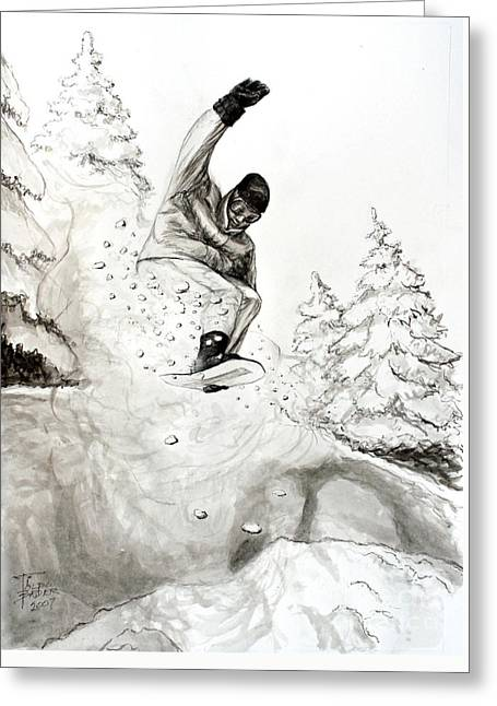 Pen And Ink Framed Prints Greeting Cards - The Snow Boarder Greeting Card by Art By - Ti   Tolpo Bader