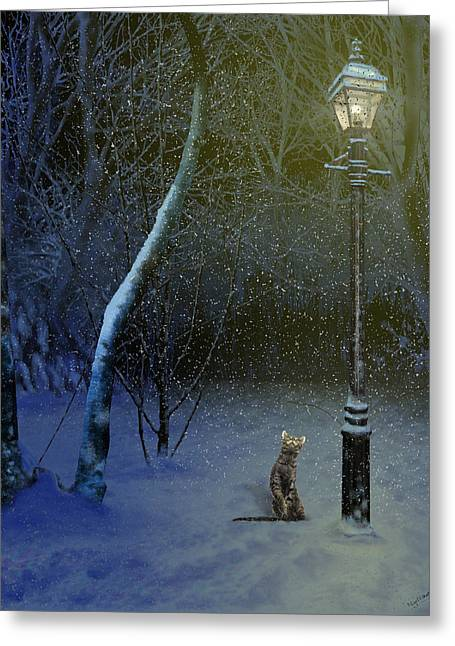 Night Lamp Greeting Cards - The Snow Cat Greeting Card by Nigel Follett