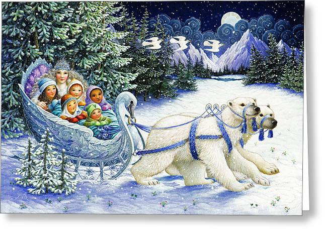 Sleigh Greeting Cards - The Snow Queen Greeting Card by Lynn Bywaters