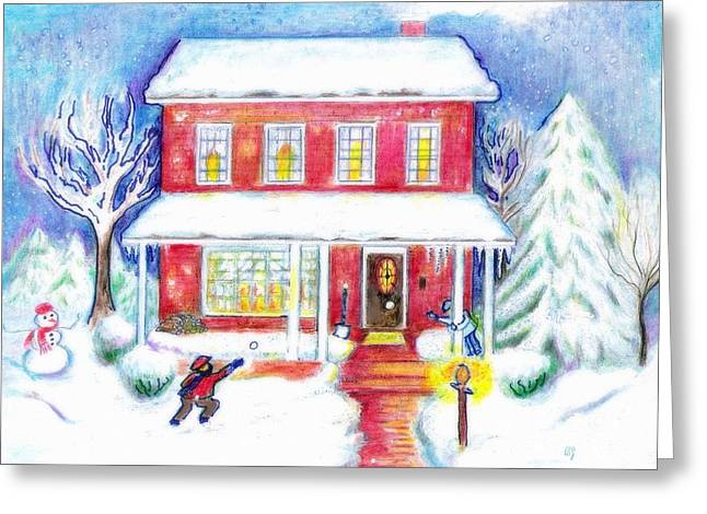Snowball Mixed Media Greeting Cards - The Snowball Fight Greeting Card by Barbara LeMaster