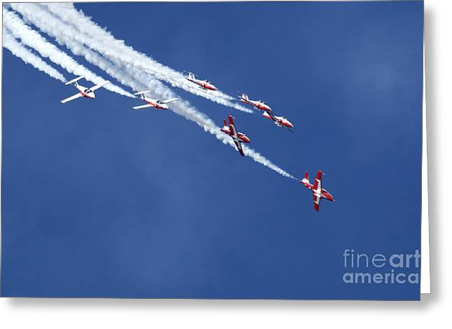 Military Aviation Photos Greeting Cards - The Snowbirds In Harmony Greeting Card by Bob Christopher