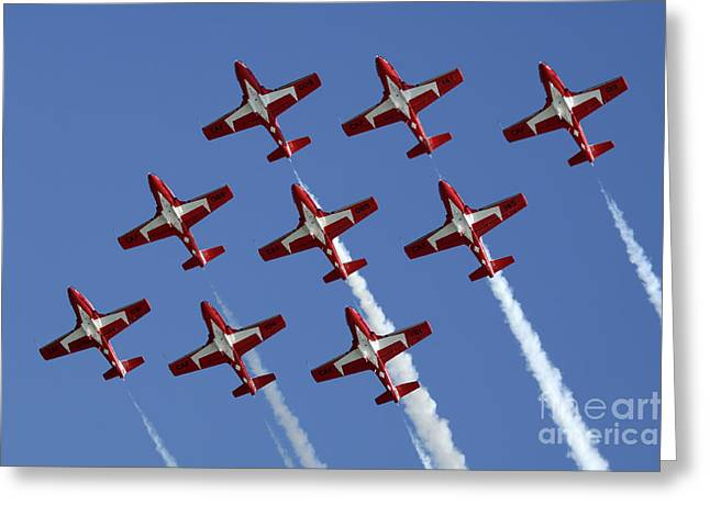 Military Aviation Photos Greeting Cards - The Snowbirds Keeping It Tight Greeting Card by Bob Christopher