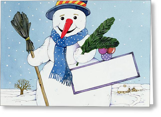 Broom Greeting Cards - The Snowman Greeting Card by Christian Kaempf