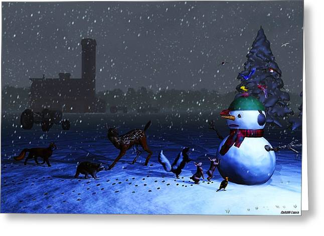 Snowy Evening Greeting Cards - The Snowmans Visitors Greeting Card by Ken Morris