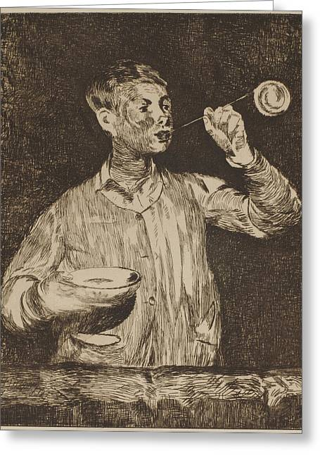 Enfants Paintings Greeting Cards - The Soap Bubble Greeting Card by Edouard Manet