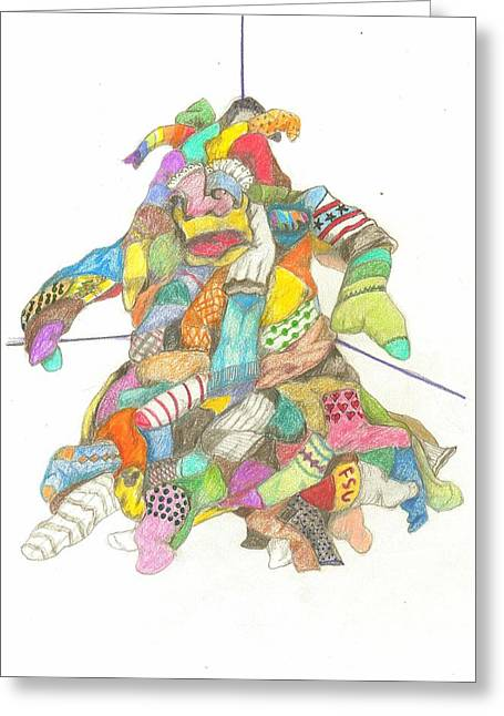 Pile Of Books Greeting Cards - The Sockasaurus Greeting Card by Lew Davis