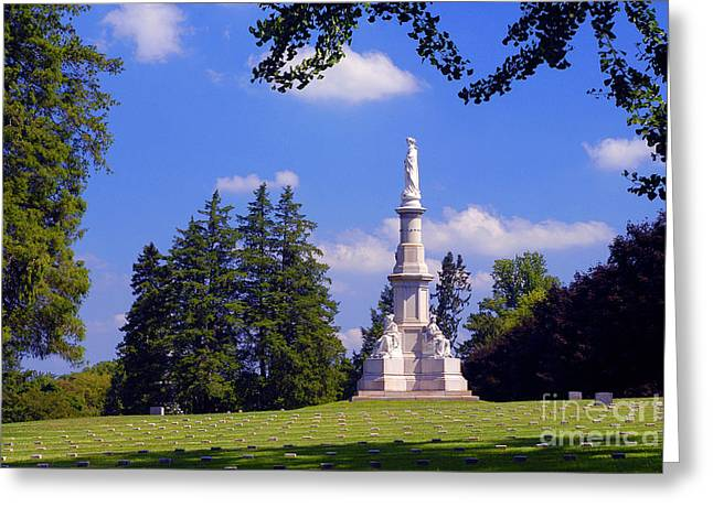 Soldiers National Cemetery Greeting Cards - The Soldiers Monument Greeting Card by Paul W Faust -  Impressions of Light