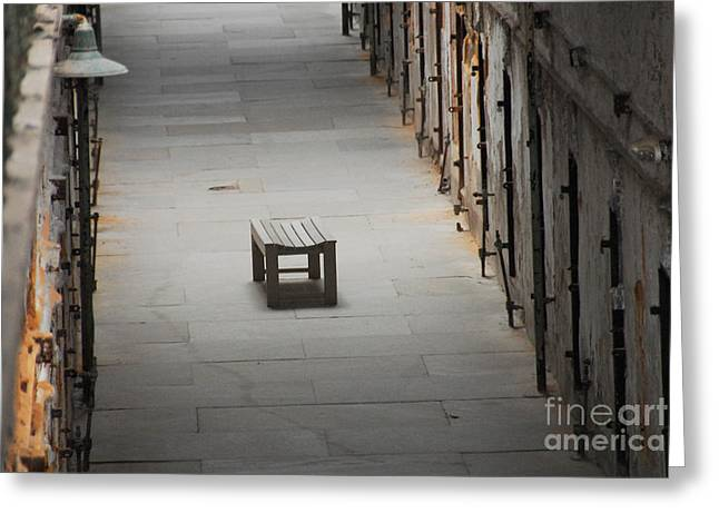 Bench Prison Greeting Cards - The Solitary Seat Greeting Card by Cindy Manero