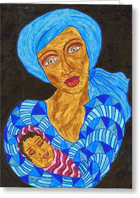 African-american Drawings Greeting Cards - The Son of Mary Greeting Card by Stacey Torres