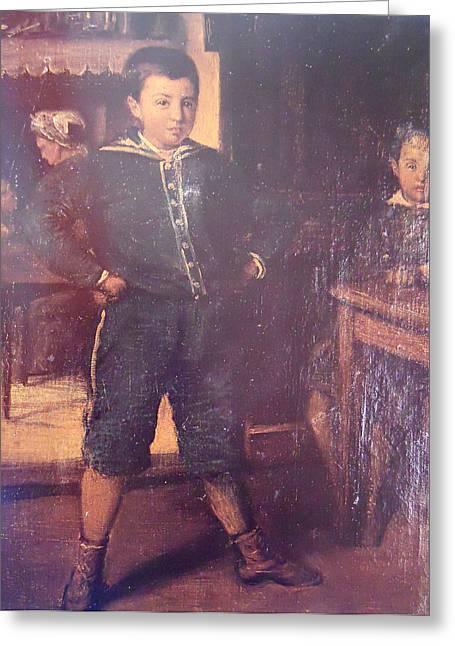 Georgio Greeting Cards - The Son of the Artist Georgios Greeting Card by Nikolaos Xydias Typaldos
