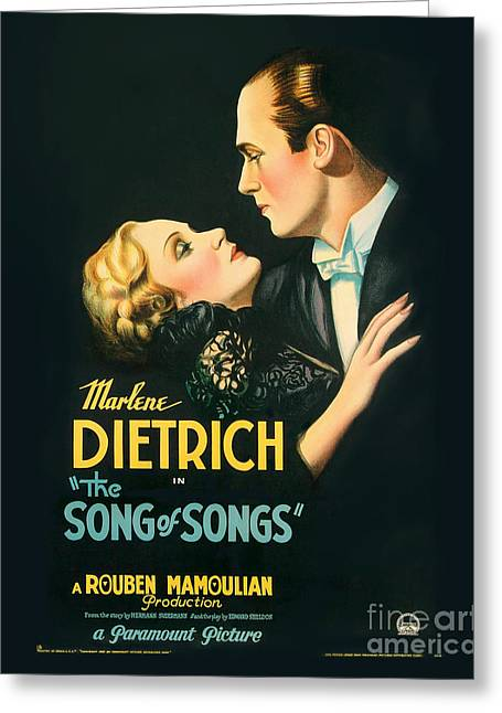 Movie Poster Greeting Cards - The Song of Songs Movie Poster - Dietrich Greeting Card by MMG Archive Prints