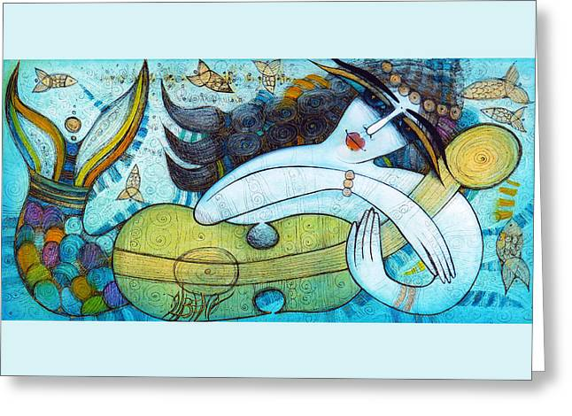 Guitare Greeting Cards - The Song Of The Mermaid Greeting Card by Albena Vatcheva