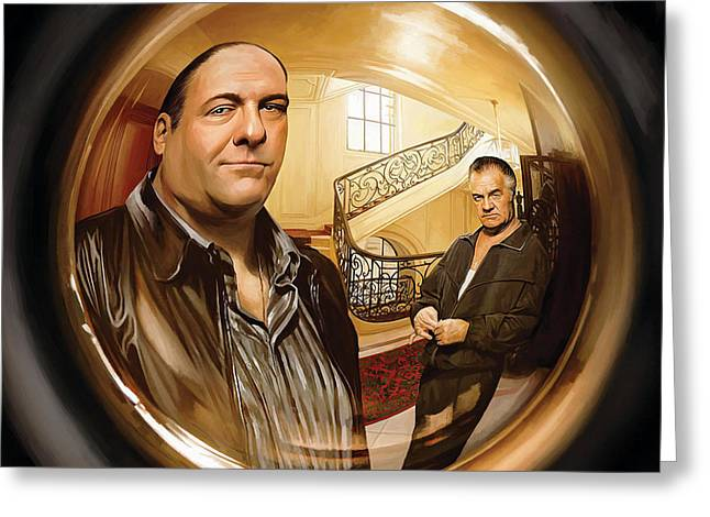 Movie Art Mixed Media Greeting Cards - The Sopranos  Artwork 1 Greeting Card by Sheraz A