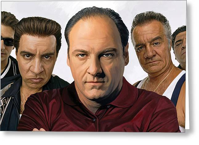 Movie Art Mixed Media Greeting Cards - The Sopranos  Artwork 2 Greeting Card by Sheraz A