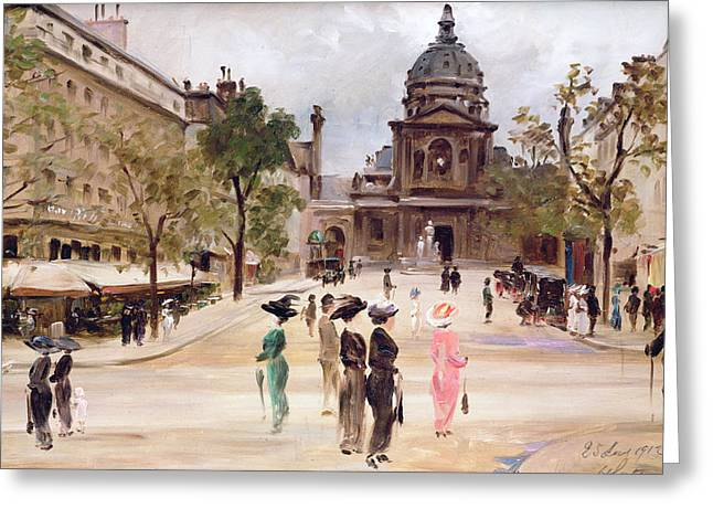 The Boulevards Greeting Cards - The Sorbonne Greeting Card by Leon-Marie Coutil