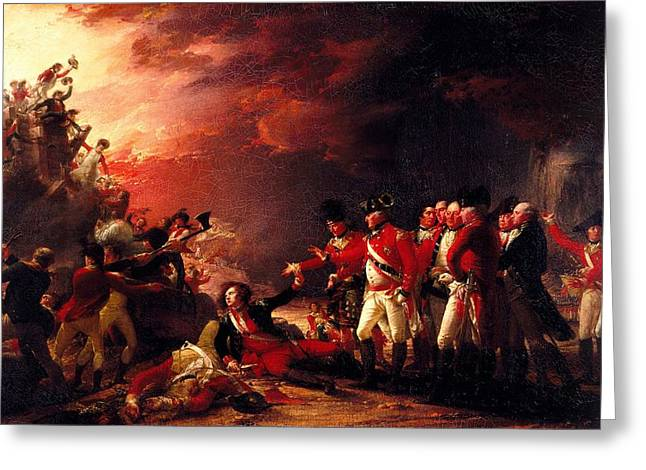 Injured Greeting Cards - The Sortie From Gibraltar, 1788 Oil On Canvas Greeting Card by John Trumbull