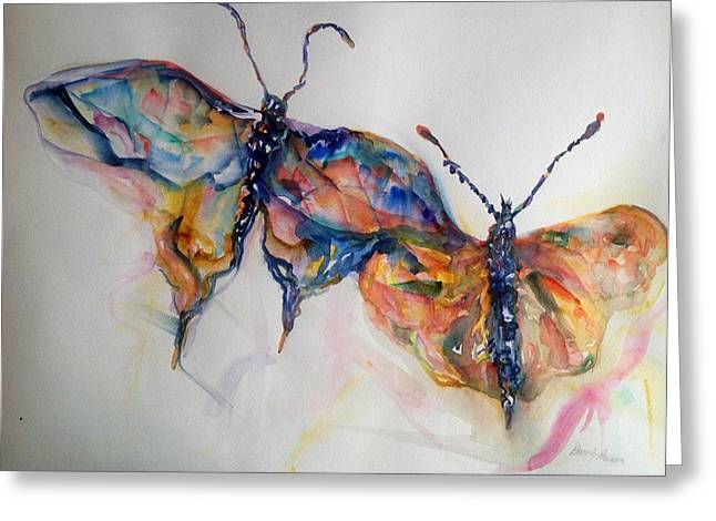 Merging Paintings Greeting Cards - Under My Wing Greeting Card by Beverly Bronson