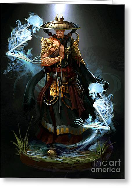 Prayer Warrior Greeting Cards - The Soul Summoner Monk Greeting Card by Bryan Roper