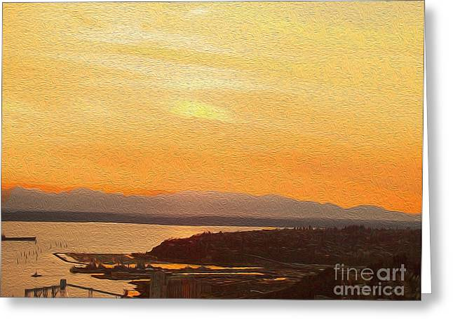Puget Sound Framed Prints Greeting Cards - The Sound Greeting Card by B Wayne Mullins