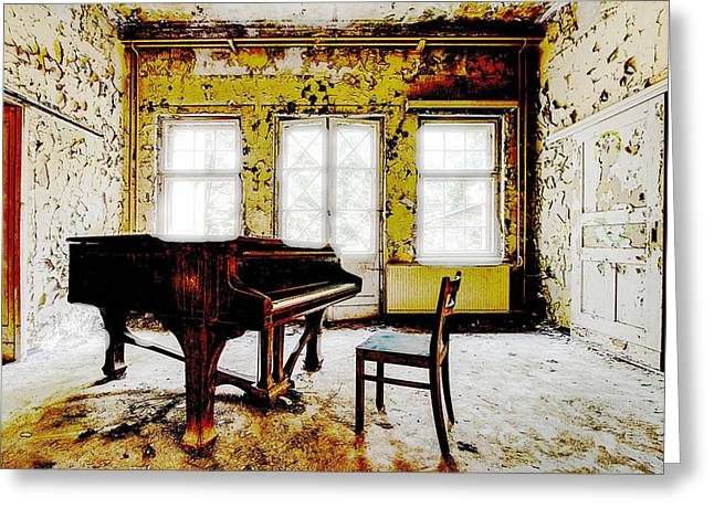 Pianist Mixed Media Greeting Cards - The Sound Of Longing Greeting Card by Leitte Family
