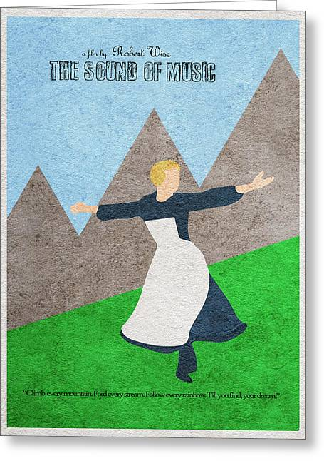 Retro Typography Greeting Cards - The Sound of Music Greeting Card by Ayse Deniz