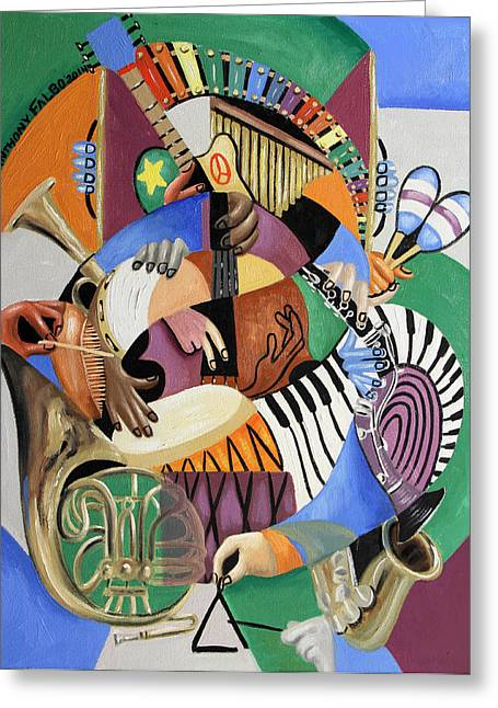 French Horn Greeting Cards - The Sounds Of Music By Anthony Falbo Greeting Card by Anthony Falbo