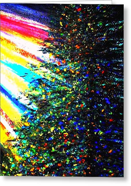 Pine Needles Paintings Greeting Cards - The Source of Light Greeting Card by Hazel Holland