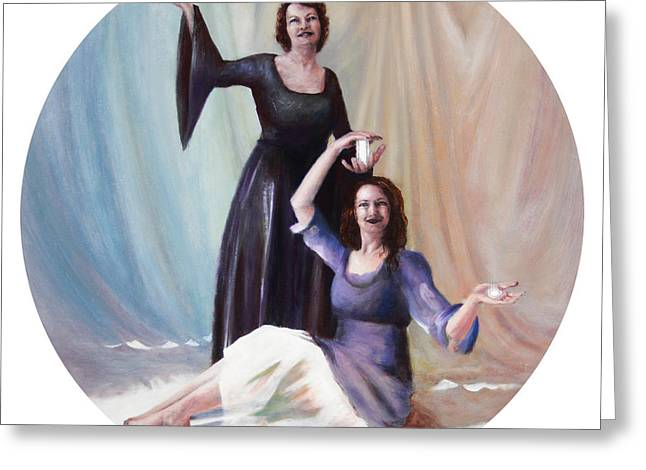 Spiritual Portrait Of Woman Greeting Cards - The Source Greeting Card by Shelley  Irish