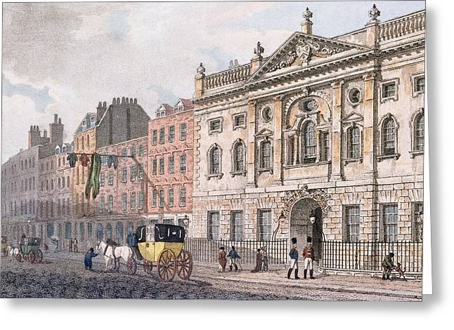 Guild Greeting Cards - The South Front Of Ironmongers Hall, From R. Ackermanns Repository Of Arts 1811 Colour Litho Greeting Card by English School