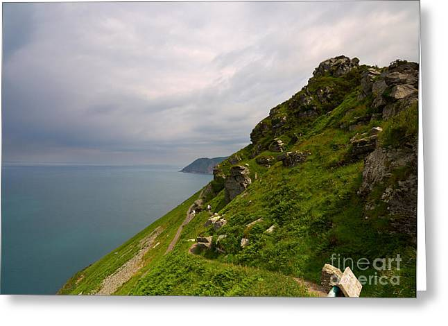 Long Distance Greeting Cards - The South West Coast Path at Valley of the Rocks in Devon Greeting Card by Louise Heusinkveld