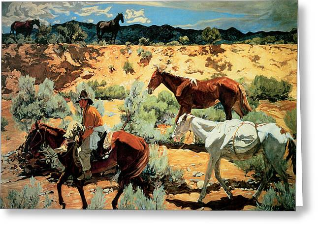 Equine Fine Art Greeting Cards - The Southwest Greeting Card by Walter Ufer