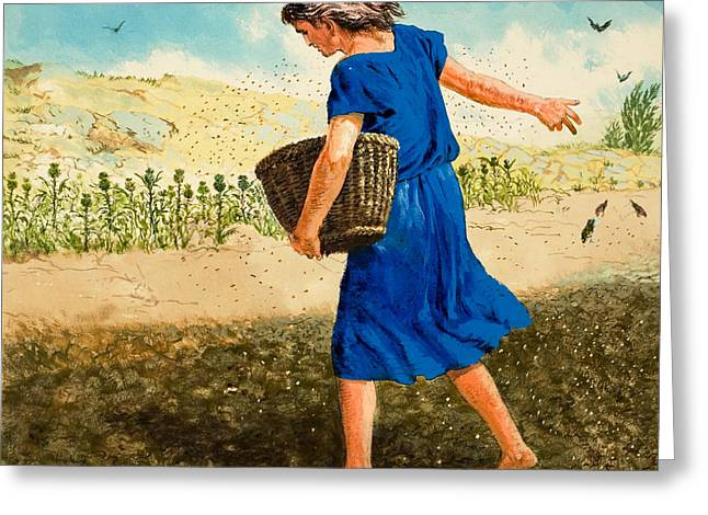 Good News Greeting Cards - The Sower of the Seed Greeting Card by Clive Uptton
