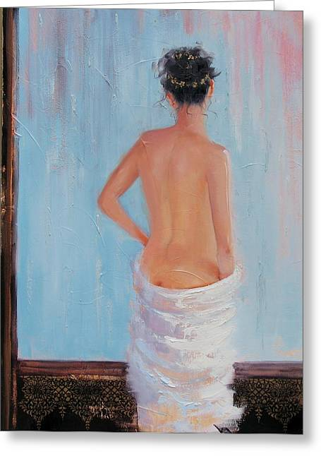 Tasteful Nude Greeting Cards - The Spa two Greeting Card by Laura Lee Zanghetti