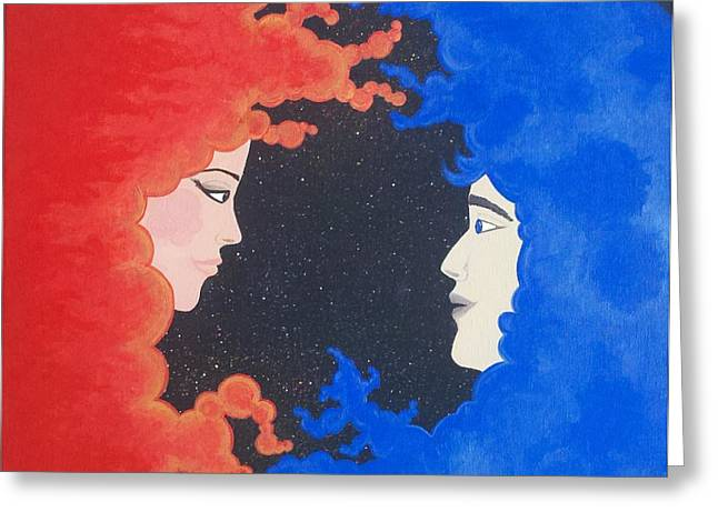 Separation Paintings Greeting Cards - The Space Between Greeting Card by Nina Giordano