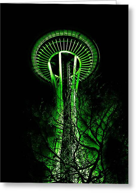 Seattle Center Greeting Cards - The Space Needle in the Emerald City II Greeting Card by David Patterson