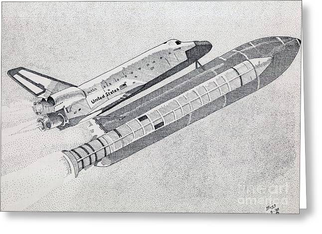 Nasa Drawings Greeting Cards - The Space Shuttle Greeting Card by Calvert Koerber