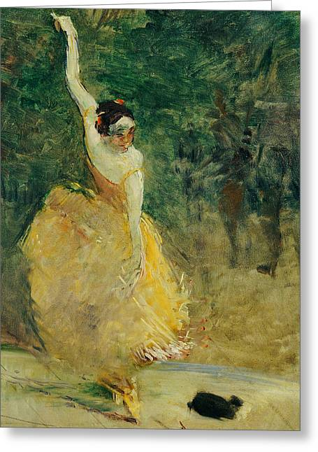 Hispanic Greeting Cards - The Spanish Dancer Greeting Card by Henri de Toulouse-Lautrec