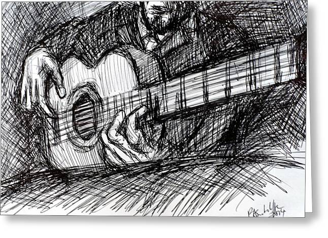 Cajun Drawings Greeting Cards - The Spanish Guitar Greeting Card by Paul Sutcliffe