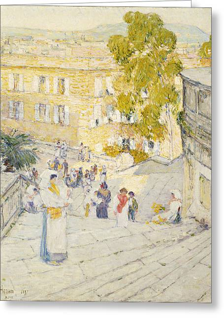 Caucasian Ethnicity Greeting Cards - The Spanish Steps of Rome Greeting Card by Childe Hassam