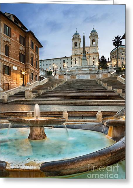 Baroque Greeting Cards - The Spanish Steps Greeting Card by Rod McLean