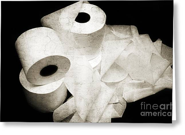 Powder Mixed Media Greeting Cards - The Spare Rolls 2 - Toilet Paper - Bathroom Design - Restroom - Powder Room Greeting Card by Andee Design